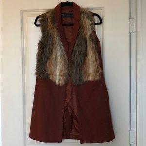 ZARA Faux Fur Brown Vest
